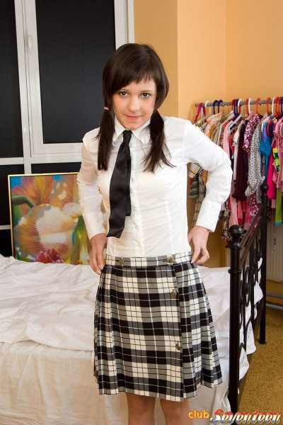 Cute student hikes schoolgirl uniform to take big woody in tiny teen pussy