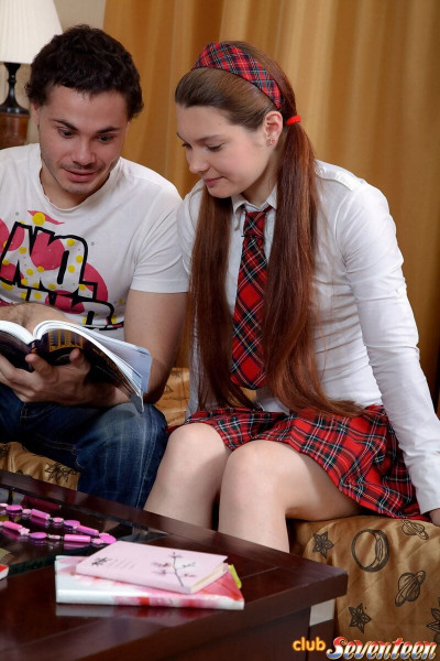 Schoolgirl in her school uniform opts for fucking tutor instead of studying