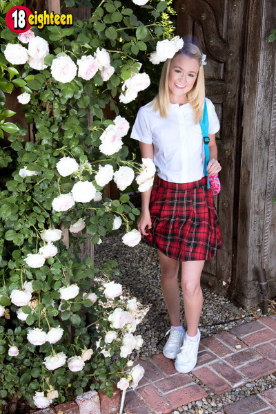 Cute 18 year old with blonde hair Kenzie Kai strips to white ankle socks