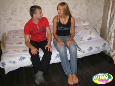 Barefoot blonde and her guy undress each other before fucking on their bed