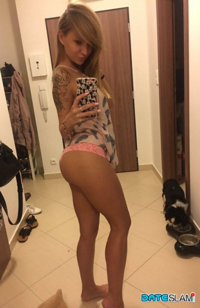 Hot and beautiful Angel Piaf takes a self shot to capture her firm sexy ass