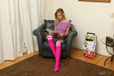 Young looking girl Haley Reed stretches her vagina in over the knee socks
