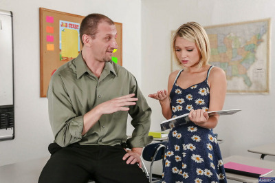 Coed reality teen Dakota Skye sucks big cock of her perverted teacher
